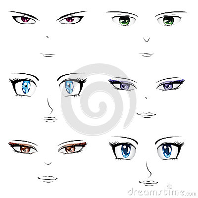 Royalty Free Stock Image Anime Faces Set Different Manga Style Image34694906 on design management
