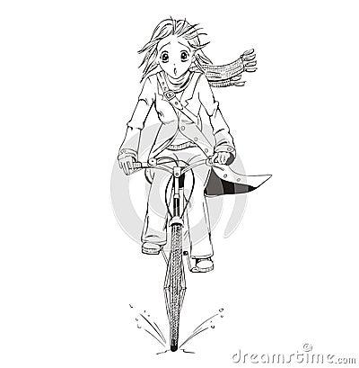 Anime girl bicyclist