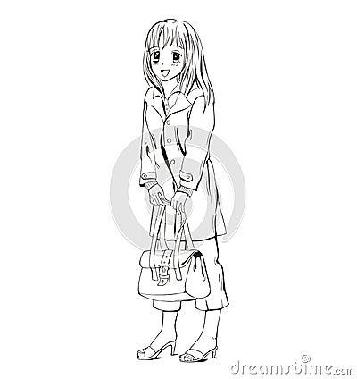 Anime girl with handbag