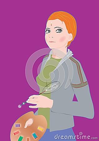 Anime girl holding artist s palette