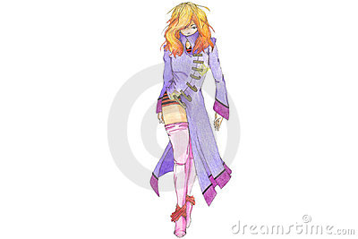 Anime model in purple coat
