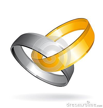 Anéis do ouro dois e de casamento de prata