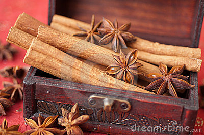 Anise Star, cinnamon and nutmeg in a chest