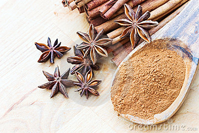 Anise stars with ground and stick cinnamon