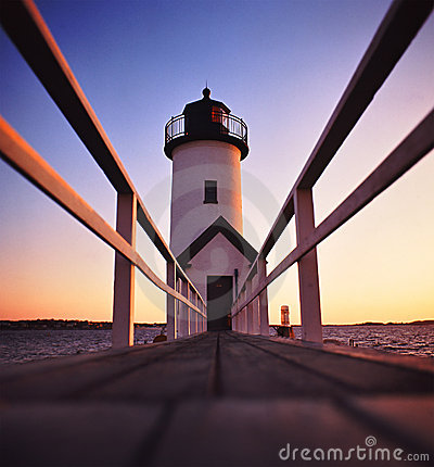 Anisquam lighthouse after sunset