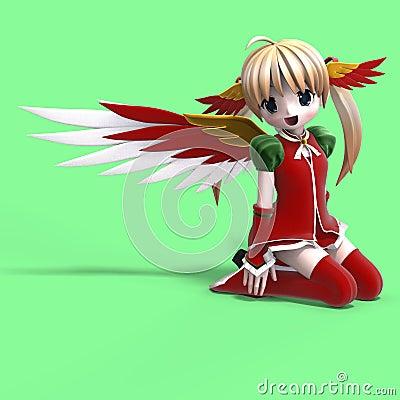 Anjo bonito do manga na roupa festiva. Com Clippin
