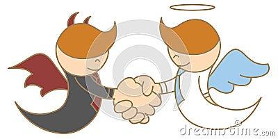 Anjo e diabo que agitam a mão