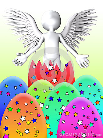 O anjo estoira do ovo da páscoa