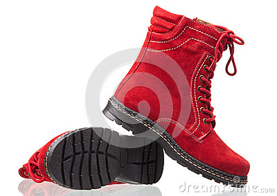 Ankle high women boots over white