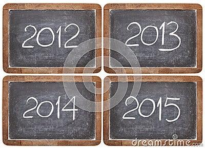 Ankommende Jahre auf Tafel