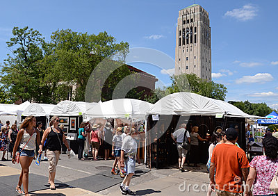 Ann Arbor Art Fair and campus Editorial Stock Image