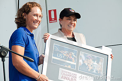 Anna Bligh hand over award to Samantha Stosur Editorial Photography