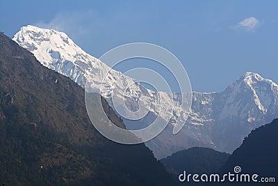 Annapurna South and Hiunchuli Peak at Sunrise