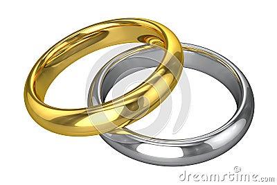 Anneaux de mariage réalistes - jaunes et or blanc (disolement sur le ...