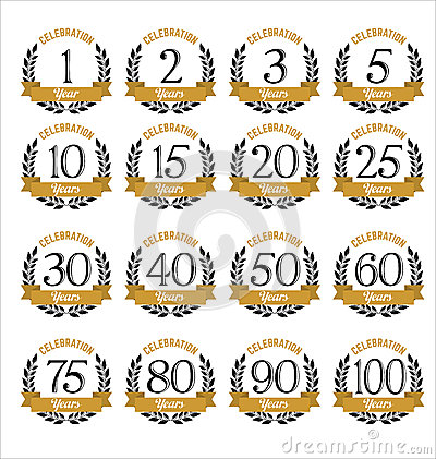 Free Anniversary Badges Gold And Black Color Stock Photo - 63751420