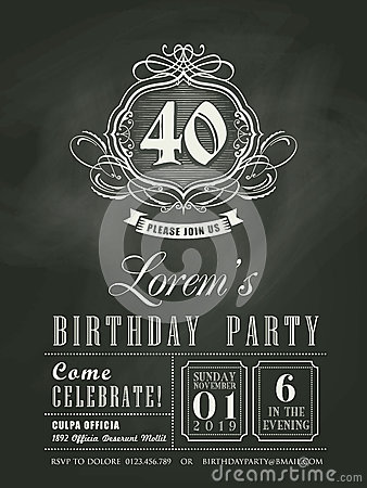 Free Anniversary Birthday Invitation Card Chalk Board Background Royalty Free Stock Images - 43728809