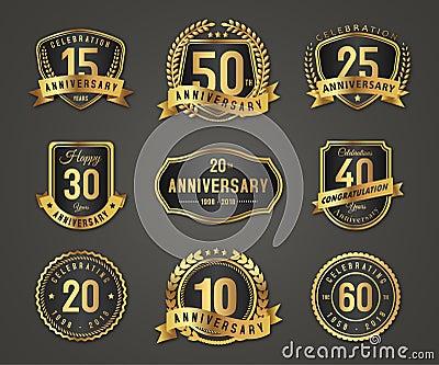 Anniversary gold badge label logo Vector Illustration