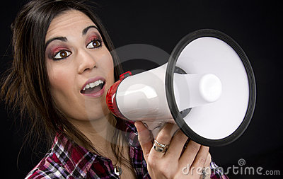 Announcement Amplyfied in Megaphone by Sales Woman