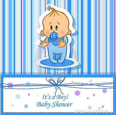 Announcement card with baby boy,vector