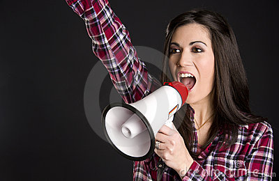 Announcer Woman Talks to Consumers Thru Megaphone