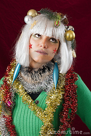 Annoyed girl in Christmas outfit