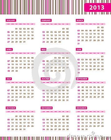 Annual Calendar for 2013 Year