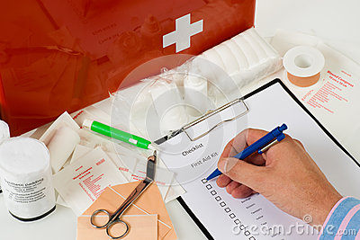 Annual check of the  first aid kit