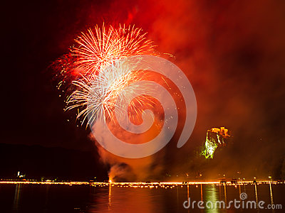 Annual midnight fireworks at lake Bled, red color