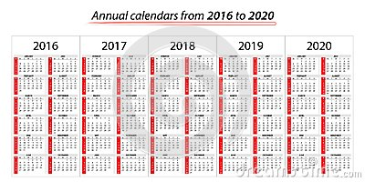 Annual planner calendar from 2016 to 2020 Stock Photo