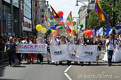 The annual Pride march through London that celebrate Gay, Lesbia Editorial Photography