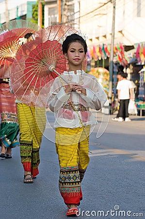 The annual Umbrella Festival in Chiang Mai Editorial Photo