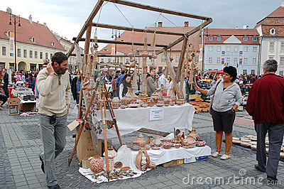 Annually pottery market in Sibiu 2010 Editorial Photography