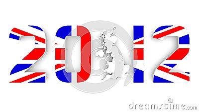 Ano 2012 na bandeira de Grâ Bretanha para Jogos Olímpicos
