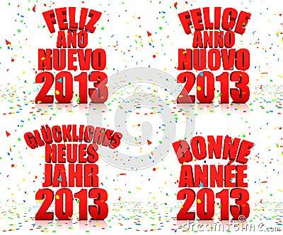 Ano novo feliz 2013 em várias línguas