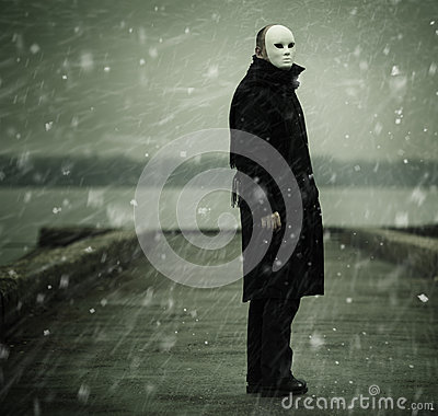Man with white mask