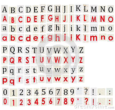 Anonymous alphabet and numbers on white background.