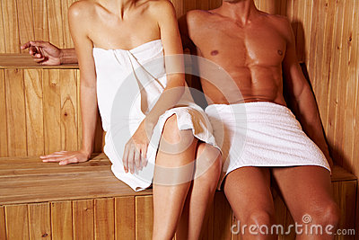 Anonymous couple in sauna