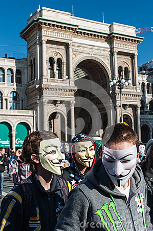 Anonymous in Milan #2 Editorial Stock Photo
