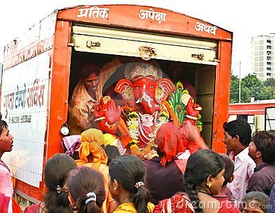 Another farwell bidding to Lord Ganesha Editorial Photography