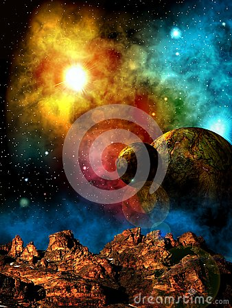 Free Another`s Sky Above A Strange Planet. Royalty Free Stock Images - 90408009
