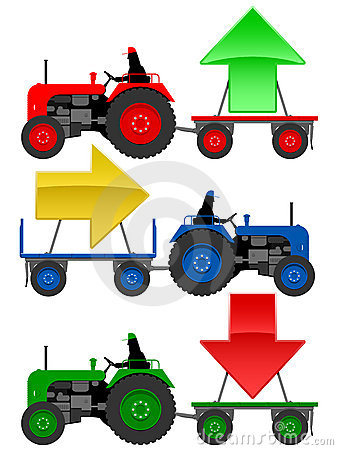 AnSet of tractors pulling trend arrows