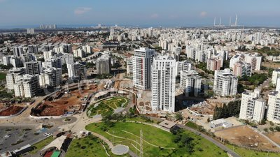Ansicht der Mitte von Hadera stock video