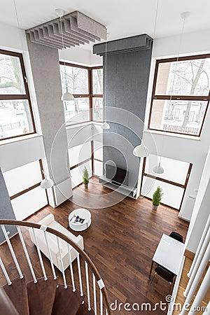 Treppe im wohnzimmer stockfoto   bild: 55580945