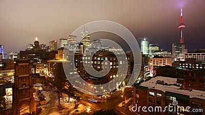 Ansicht timelapse 4K UltraHD A der Toronto-Skyline als Nacht fällt stock video footage