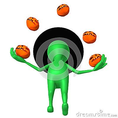 Ansichtwelpe jonglieren mit kleinen pupkins geschickt