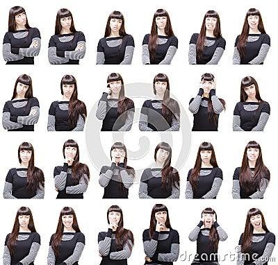 Ansikts- olika uttryck