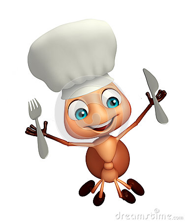 Free Ant Cartoon Character With Chef Hat And Spoons Stock Photos - 69233503