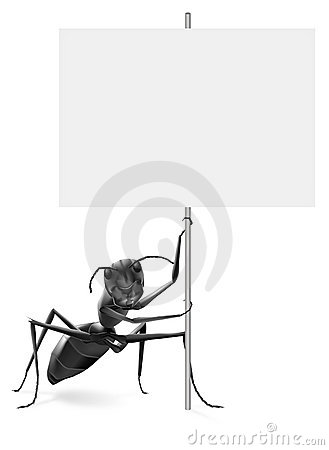 Ant holding blank protest or advertising placard