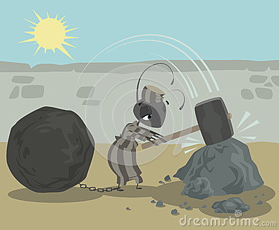 Ant prisoner with chains ball working hard breaking rocks