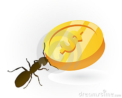 Ant saving money for better times